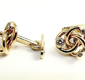 Jewellery Commission. Remodelled jewellery into handmade bespokecufflinks. Diamond set. Family gold.