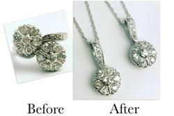Diamond Flower Pendants
