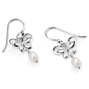 Fesh Water Pearl Butterfly Drop Earrings