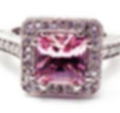 Jewellery Commission. Pink tourmaline and diamond halo. Bespoke one off.