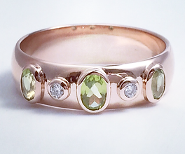 Jewellery Commission. Testimonial page. Rose gold band set with peridot and diamonds. Handmade for you.