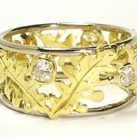 Jewellery Commission. Diamond and gold leaf design. Bespoke one off creation. Cad cam.