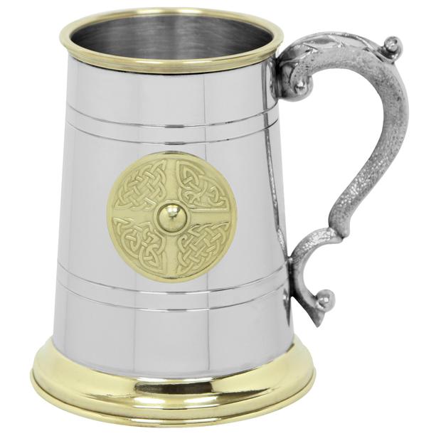 1 Pint Pewter & Brass Tankard