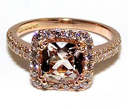 Jewellery Commission. Testimonial page. Rose gold and diamond bespoke engagement ring. Morganite stone.