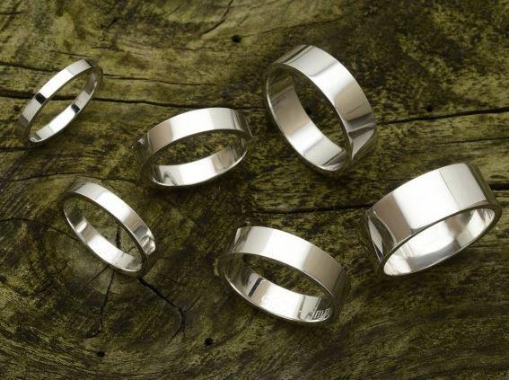 Flat profile wedding bands. 2mm, 3mm, 4mm, 5mm, 6mm, 7mm