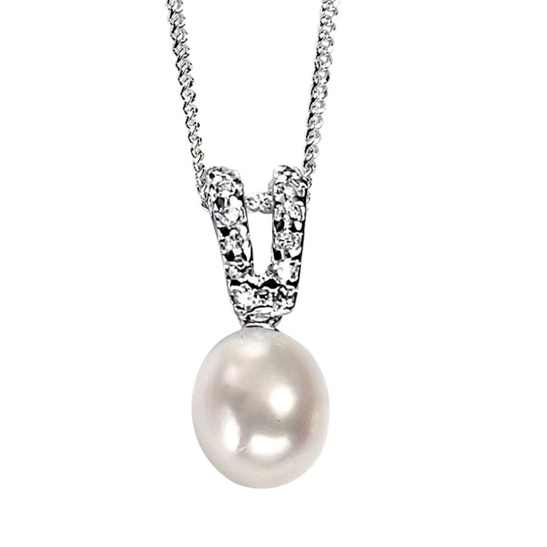 """Fesh Water Pearl & CZ Necklace 16-18"""""""
