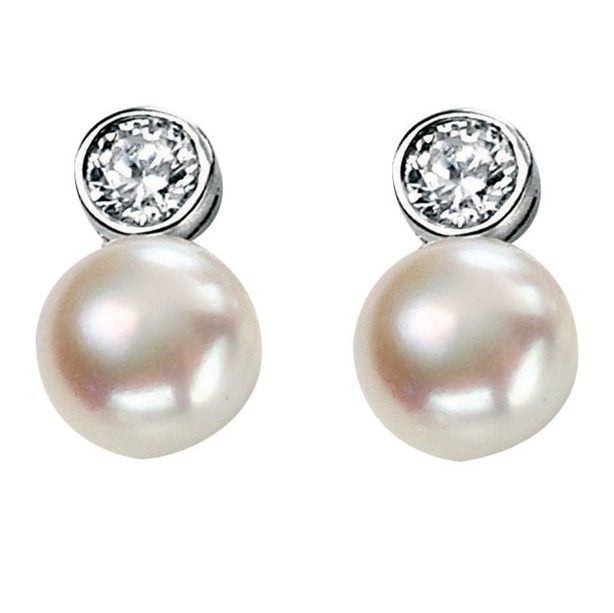 Fresh Water Pearl & CZ Stud Earrings
