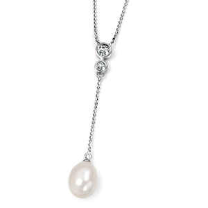 """Fesh Water Pearl & CZ Necklace 16 1/2"""""""