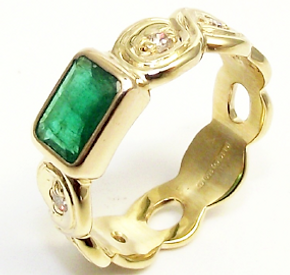Jewellery Commission. One off emerald and diamon handmade gold ring.
