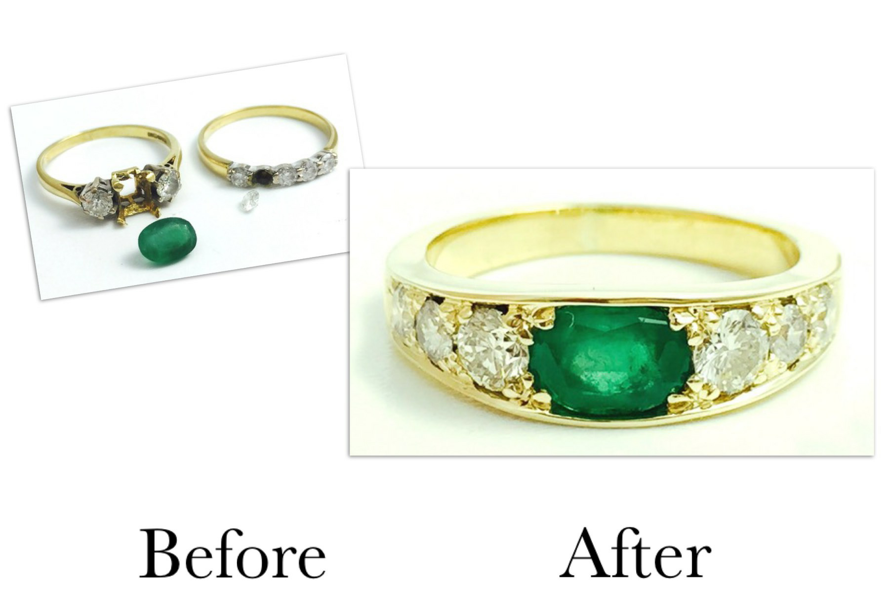 Emerald & Diamond Five Stone