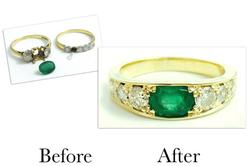Emerald & Diamond Five Stone