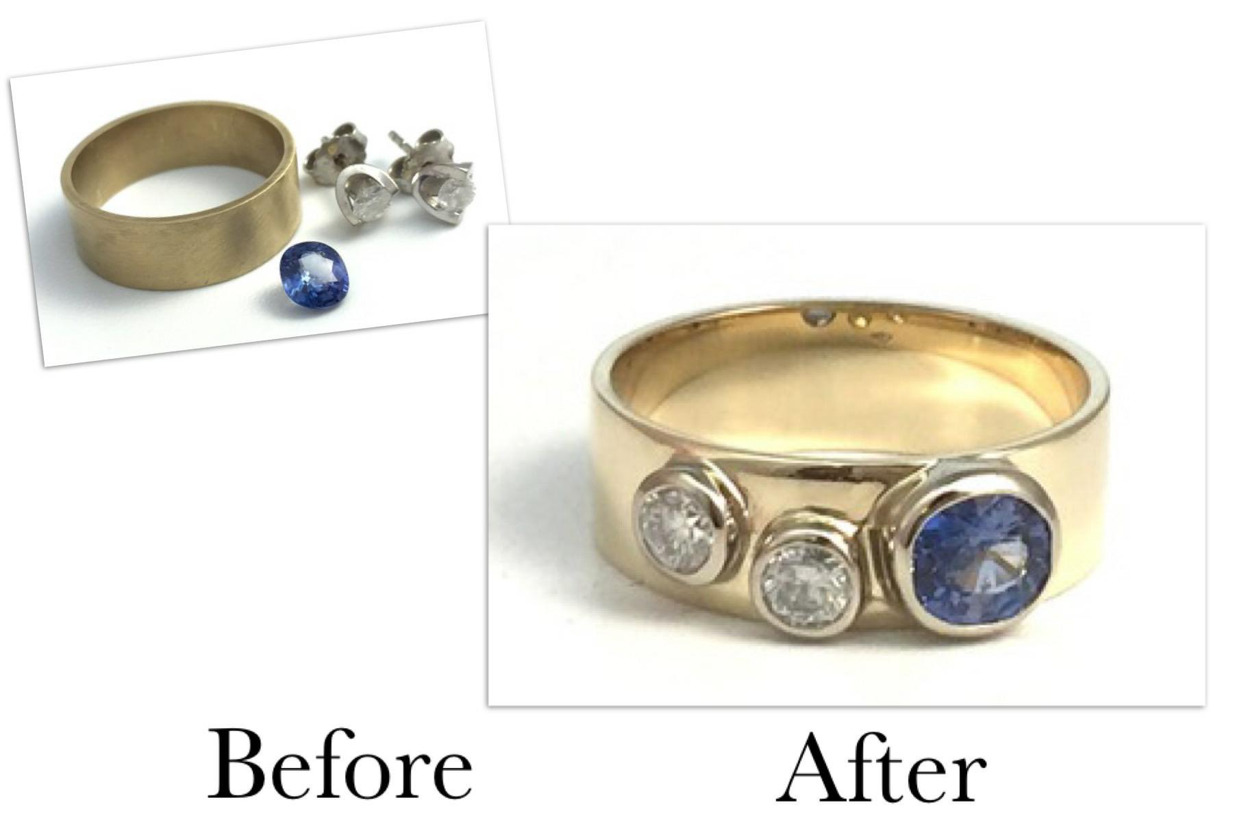 Sapphire & Diamond Band Ring