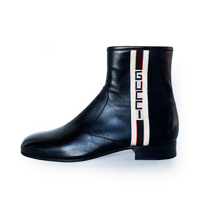 GUCCI BLACK GUCCI STRIPE LEATHER ZIP UP BOOTS