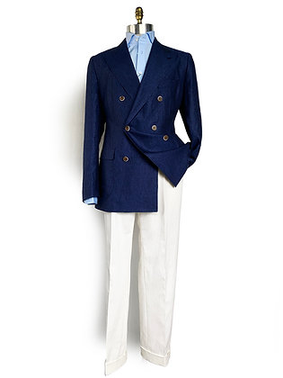 TBCO RESERVE FRESCO BLUE DOUBLE BREASTED LINEN JACKET