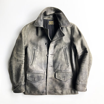 RRL Ralph Lauren Gray Leather Peacoat Jacket