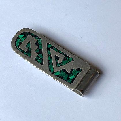 Vintage Jade  Sterling Silver Money Clip