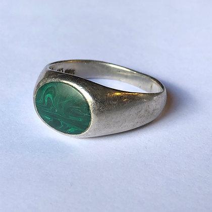Vintage Malachite Sterling Silver Ring