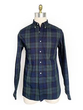 BEAMS MADE IN JAPAN GREEN/NAVY PLAID BUTTON UP SHIRT