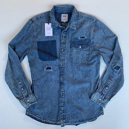 Levis distressed repaired denim shirt size L