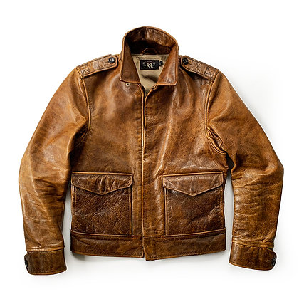 DOUBLE RL AVIATOR BROWN LEATHER JACKET