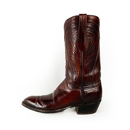 ORIGINAL VINTAGE LUCCHESE BROWN LEATHER COWBOY BOOTS