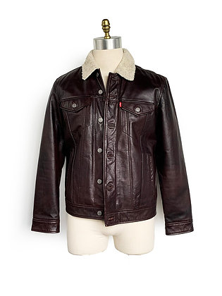 LEVIS BROWN LEATHER SHERPA JACKET