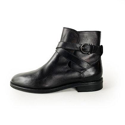 SALVATORE FERRAGAMO BLACK LEATHER JODHPUR BOOTS size 9.5