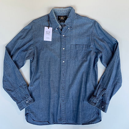 RRL button up chambray denim shirt size Medium