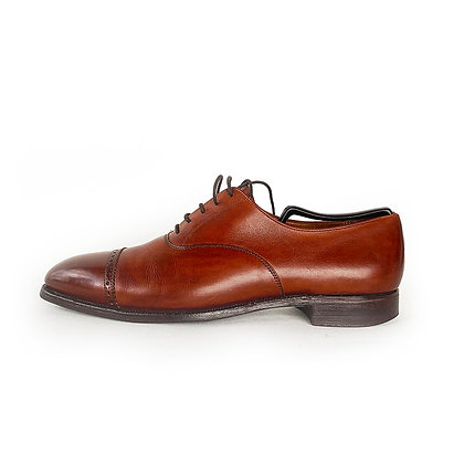 POLO RALPH LAUREN COGNAC LEATHER CAPTOE SHOES (MADE BY CROCKET & JONES)
