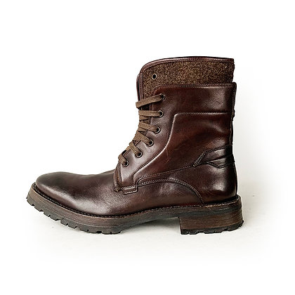 JOHN VARVATOS TAHOE BROWN LEATHER AND WOOL LACE UP BOOTS size 9.5/10