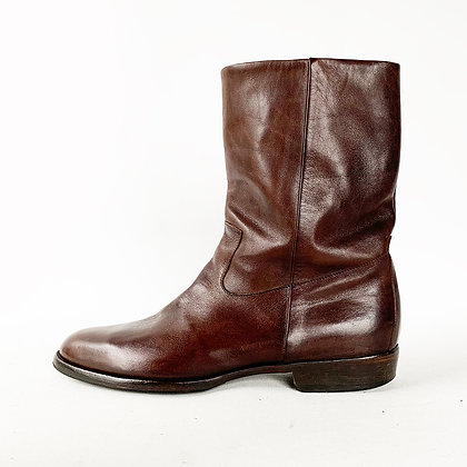 MAISON  MARGIELA BROWN LEATHER PULL ON BOOTS