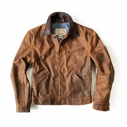 SCHOTT NYC BROWN LEATHER NUBUCK MECHANIC JACKET