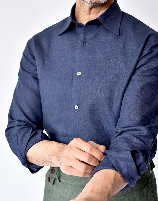 THE TBco. RESERVE FRESCO NAVY LINEN DRESS SHIRT