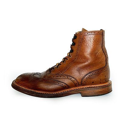 TRICKER'S BROWN LEATHER WINGTIP LACE UP BOOTS