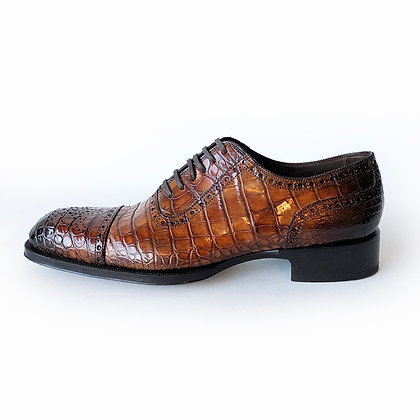 Tom Ford Edward Caramel Brown Alligator Cap Toe Lace up Shoes