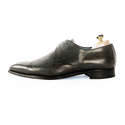 LODING GREY LEATHER DERBY SHOES
