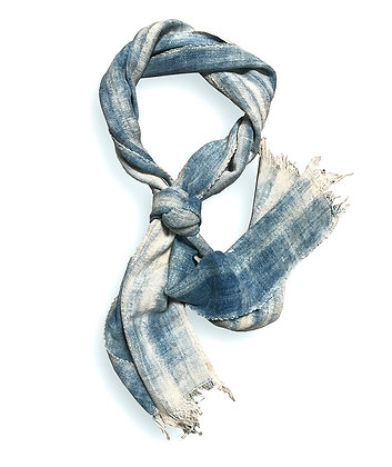 Original Vintage faded Indigo Cotton Ascot scarf