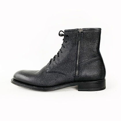 AQUATALIA BLACK PEBBLE LEATHER GOODYEAR  WELTED LACE UP BOOTS