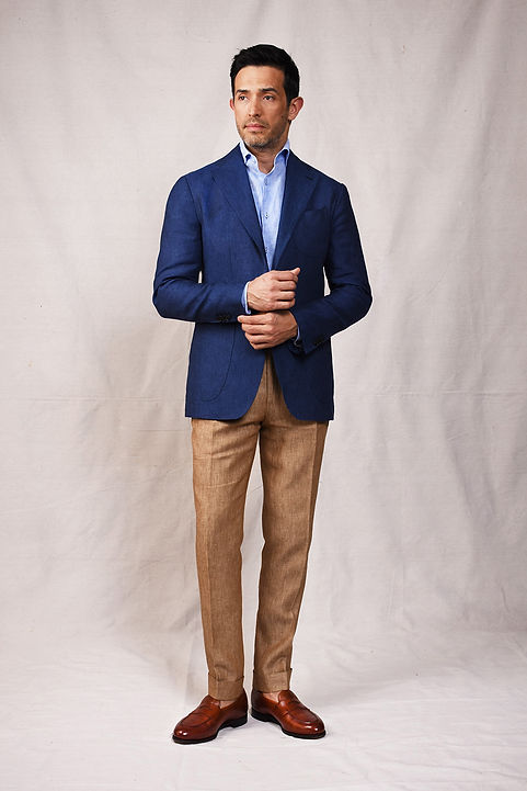 blue navy linen unstructured unlined nea