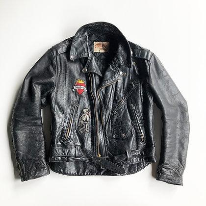 ORIGINAL VINTAGE 80's  ERA BLACK BIKER LEATHER  JACKET