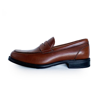 AQUATALIA BROWN LEATHER PENNY LOAFERS
