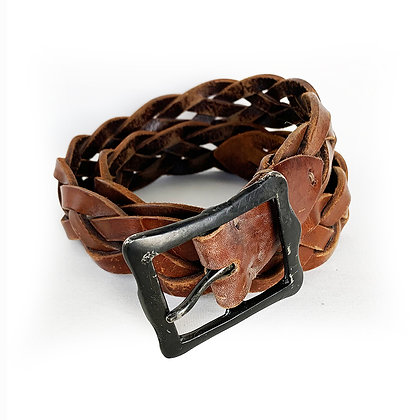 DOUBLE RL BROWN LEATHER BRAIDED BELT