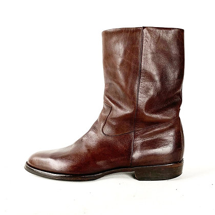 MAISON  MARGIELA BROWN LEATHER PULL ON BOOTS size 9.5