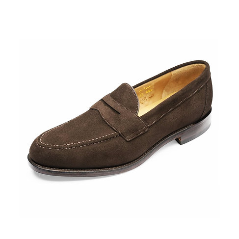 LOAKE SHOEMAKERS DARK BROWN SUEDE IMPERIAL LOAFERS