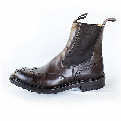 TRICKER'S BROWN LEATHER KENNY CHELSEA BROGUE BOOTS size 10.5 UK