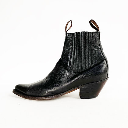BLACK LEATHER CHELSEA ANKLE  COWBOY BOOTS