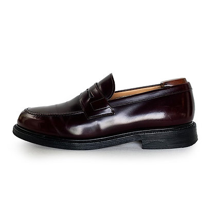 CHURCH'S BURGUNDY LEATHER PENNY LOAFERS