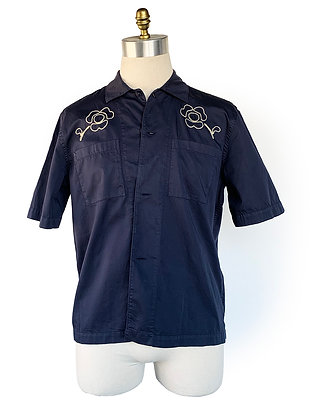 OUR LEGACY NAVY COTTON SHORT SLEEVE SHIRT