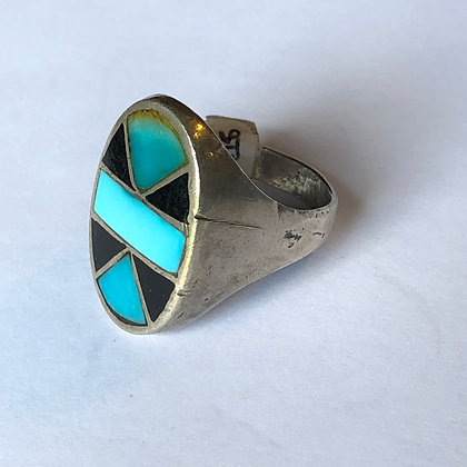 Vintage Suni Turquoise Onyx Sterling Silver Ring