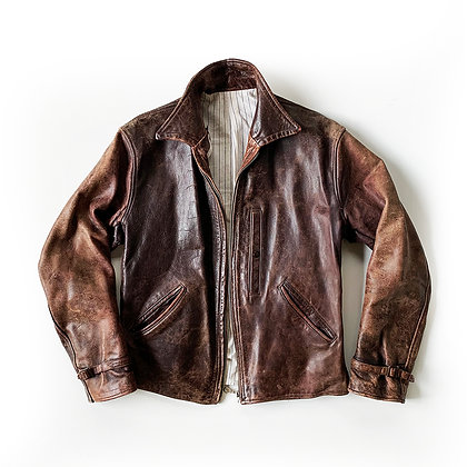 VINTAGE 1940S HORSE HIDE HIGHWAY MAN BROWN LEATHER JACKET